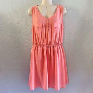 Francesca's Coral Pink Cut Out Back Sun Dress L